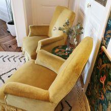 Paire de fauteuil crapaud ocre plissée