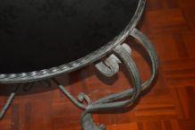 Table basse ronde vintage fer forgé plateau opaline