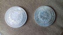 2 Pièces De Collection De 50 Francs Hercule En Argent 17974
