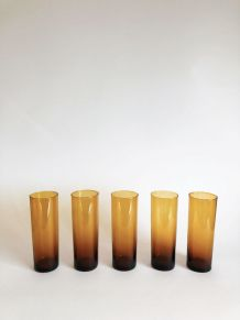 Set de 5 verres ambrés