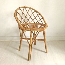 Petit fauteuil en rotin vintage 60's