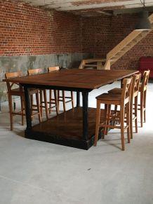 GRANDE TABLE D'ATELIER INDUSTRIE VINTAGE DRAPIER 2.25x1.50 m
