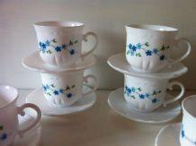 6 tasses à café vintage Arcopal myosostis
