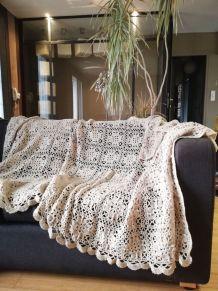 Grand plaid crochet dentelle vintage fait main beige