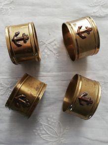 """4 anciens ronds de serviette """"ancre marine"""""""