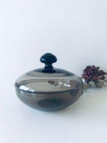 Bonbonnière en verre brun