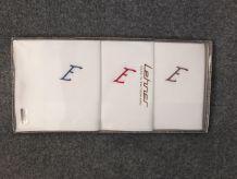 Trois mouchoirs neufs Lehner (Suisse) pur coton