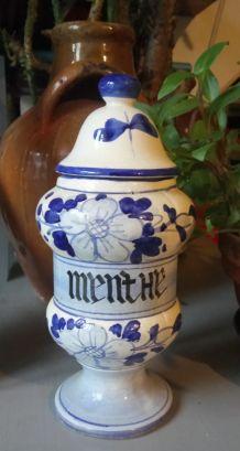 """Pot d'apothicaire """"MENTHE"""" en céramique"""