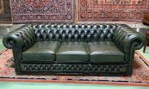 Canapé 3 places Chesterfield en cuir années 70