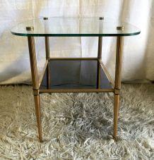 Table basse laiton et verre – années 60