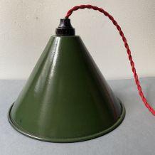 ANCIENNE LAMPE SUSPENSION EMAILLEE VINTAGE