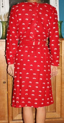 ROBE PULL ROUGE POMPON ANNÉE 60-70