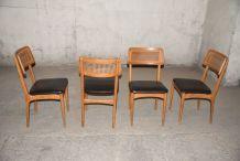 Série de 4 chaises scandinaves années 50/60