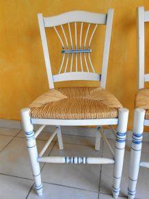 4 Chaises paille style provençal cérusé bleu et blanc