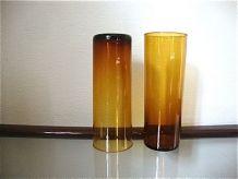 4 verres couleur marron ambré années 70