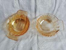 Duo de coupelles AMORA verre irisé vintage