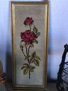 Joli cadre canevas à la rose rouge
