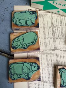 """Série de 6 anciens tampons scolaires """"animaux du zoo"""""""