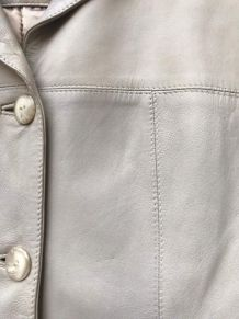 veste 4 boutons en agneau banc mastic