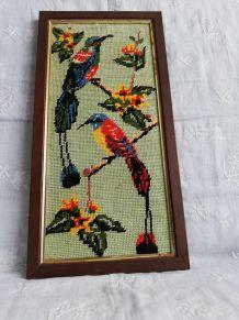 """Canevas """"oiseaux"""" encadrement bois"""