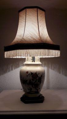 Lampe / pied lampe céramique motif japonisant