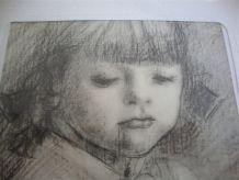 Tableau - Portrait de fillette signé Messina. Dessin.