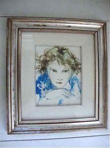 Tableau - Portrait d'enfant. Huile sur toile