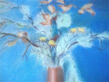 Tableau bouquet d'automne sur fond turquoise