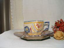Ancienne tasse à chocolat et soucoupe QUIMPER