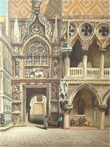 Tableau Palais des Doges, détail, Venise. Huile sur toile.