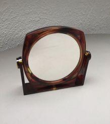 Miroir double face écaille de tortue vintage