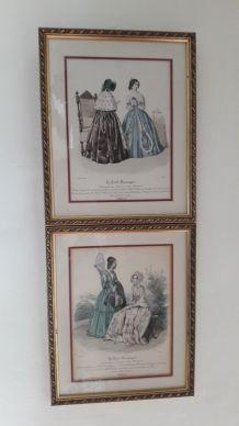 Lot de 2 gravures anciennes  19eme de Mode
