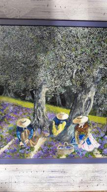 Tableau signé peinture huile  scène champêtre