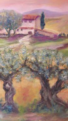 Tableau signé peinture huile Paysage