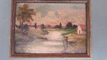 Anciens petits tableaux   paysages huile