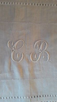 Drap  mariés ancien fil  lin beige Monogramme CB