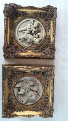Tableaux anciens en marbrine décor Anges