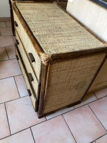 Commode vintage cannage
