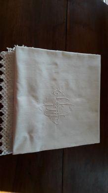 Housse d'édredon ancienne Tissus moiré  Monogramm