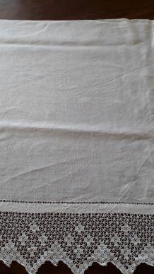 Nappe d'autel ancienne en lin blanche