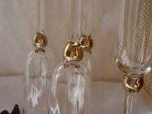 Lot de 5 flutes à champagne verre et or