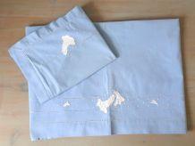 Parure de lit bébé/ enfant en coton bleu vintage
