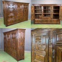 Rare presse à lin 3 portes XVIIIème en chêne
