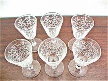 6 verres à pied gravés