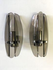 Paire d'appliques verre fumé VECA pour Fontana Arte – 70's