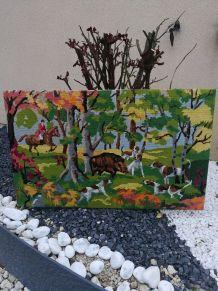 Tableau de tapisserie à la chasse du sanglier