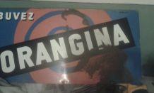 grande tôle émaillée non bombée publicitaire Orangina