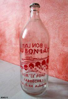 """1        Bouteille de lait cévenol ancienne """"Au bon lait"""""""