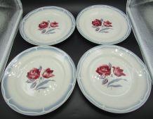 4 assiettes plate Sarreguemines Alesia