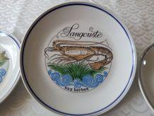 """Six assiettes en porcelaine d'AUTEUIL. Ligne """" MARINE """" J LO"""